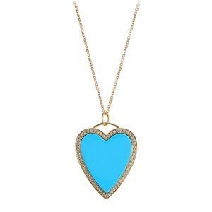14 karat diamond and turquoise heart pendant